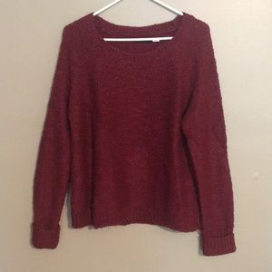 Maroon sweater with elbow detail